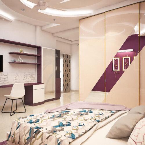 Aristo Wardrobe with Shutters in Bedroom for a home interiors project done in Salarpuria Sattva Magnificia, Bengaluru