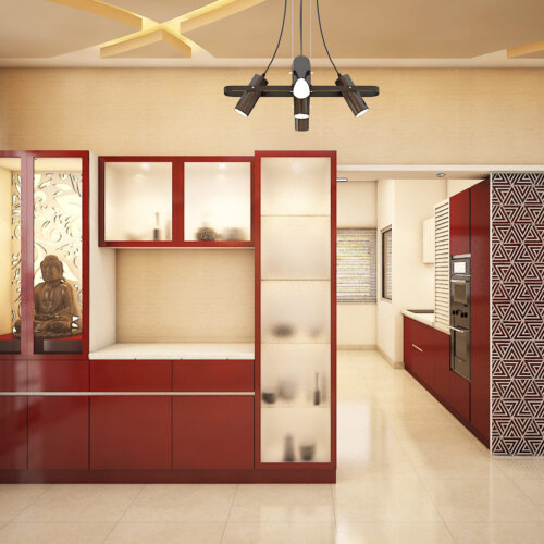 Crockery & Prayer unit design for a home interiors project done in Salarpuria Sattva Magnificia, Bengaluru