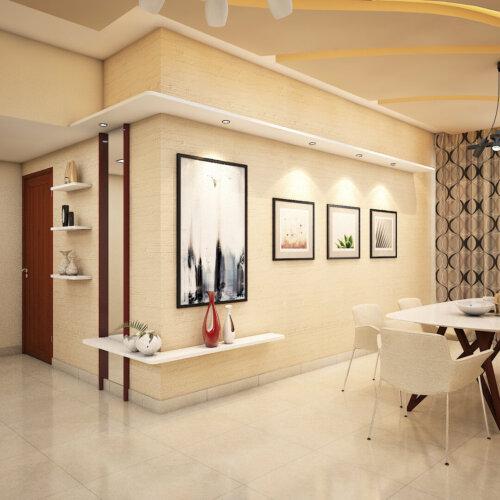 Dining area design with decor done for a home interiors project in Salarpuria Sattva Magnificia, Bengaluru