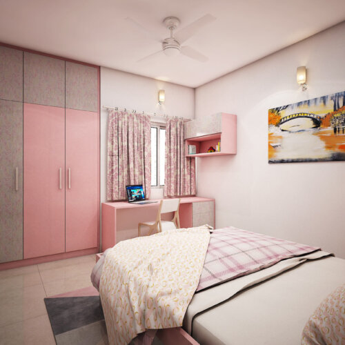 Disney theme design room for girls done for a home interiors project in Brigade Lakefront, Bengaluru