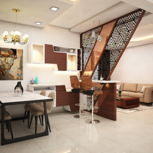 Designer bar unit deign for a home interiors project done in Brigade Lakefront, Bengaluru