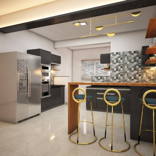Modular Kitchen design for a home interiors project done in Brigade Lakefront, Bengaluru