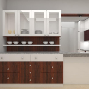 Teak wood brown and egg white color crockery unit
