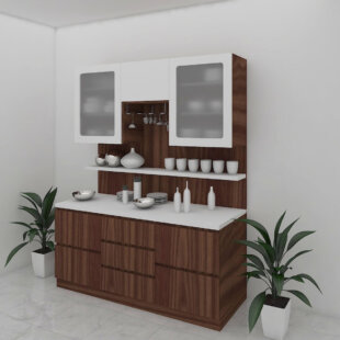 Walnut brown and egg white color crockery unit
